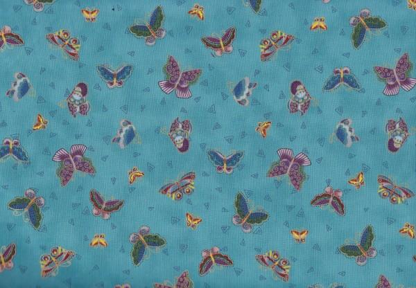 Feline Frolic Aqua Butterflies