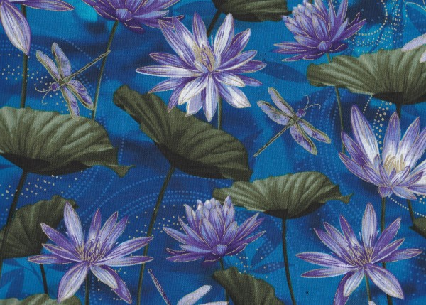 Waterlily pool cobalt-blue
